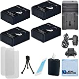 4 GoPro Hero3, Hero3+ High-Capacity Replacement 1500mAh Batteries | AHDBT-201, AHDBT-301, AHDBT-302 + AC/DC Turbo Charger with Travel Adapter + Complete Deluxe Starter Kit for GoPro Hero 3 Camera