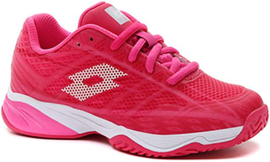 Lotto Junior Mirage 300 ALR Tennis Shoes, Vivid Fuchsia/All White/Glamour Pink (US Size 5.5)