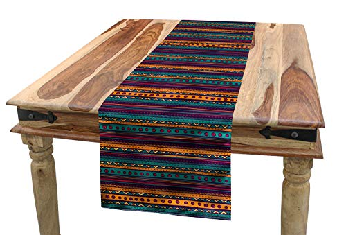 """Ambesonne Tribal Table Runner, Striped Retro Pattern with Rich Mexican Color Folkloric Print, Dining Room Kitchen Rectangular Runner, 16"""" X 120"""", Teal Plum"""