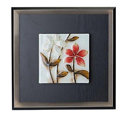 Formano Bild Wandbild 40x40cm rot weiß schwarz Blume Wanddeko 672742 A Holz Glas Blumendekor mit Rahmen