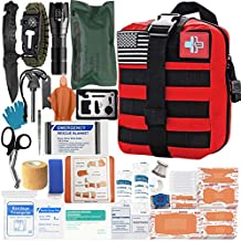 [2021 Upgrade] Trauma First Aid Kit with Survival Gear Outdoor Tactical Gear Set Military Grade Molle System for Camper Travel Hunting Hiking and Adventures?RED?