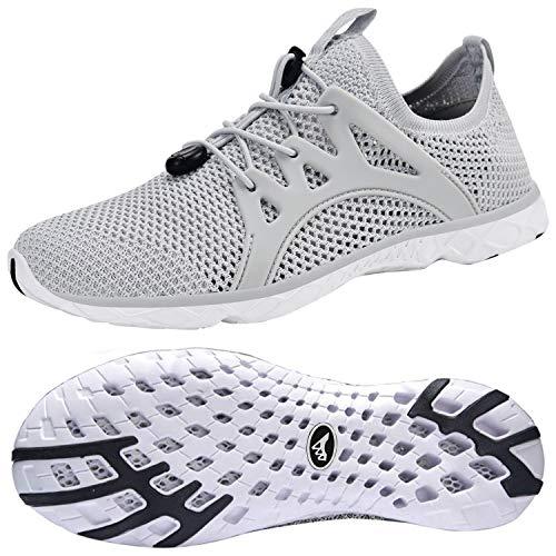 Feetmat Women's Water Shoes Quick Drying Aqua for Water Sports Slip on Walking Shoes Light/Grey 8