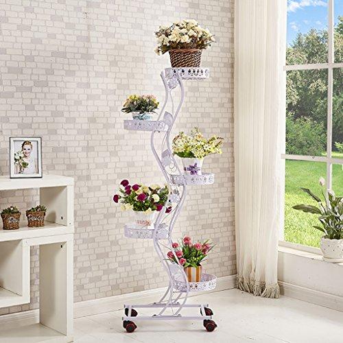 FZN Fer en Europe continentale Richvast fleur coulissante multicouche mobile charnue balcon étage salon voyantes Pots de fleurs (Couleur : Blanc, taille : 47*27*143)