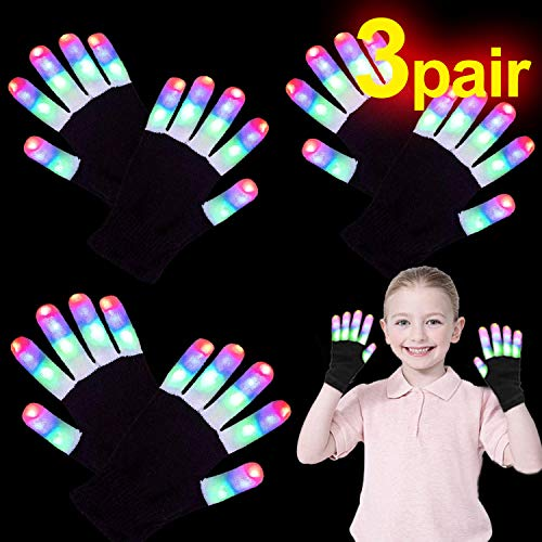 LED Gloves for Kids Teens Men Wemen, 3 Pairs Neon Light Up Rave Glow Gloves 3 Colors 6 Modes Flashing Glow in The Dark Party Supplies Christmas Costume Clubbing Party Favors Novelty Toys, Small