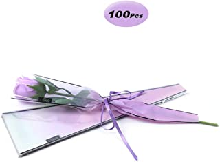 Flower Wrapping Plastic Single Rose Packaging Bag, Pack of 100, Purple