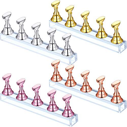 4 Soporte de Exhibición de Uñas Acrílicas Soporte de Punta de Uñas Soporte de Práctica de Uñas Magnético Soporte de Arte de Uñas DIY para Uña Falsa Herramienta de Manicura (Oro, Plata, Oro Rosa, Rosa)
