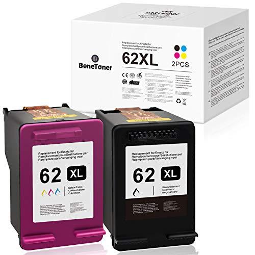 BeneToner - 2 cartuchos de tinta remanufacturados para HP 62 XL 62XL para impresoras HP Envy 5540 5545 5548 5640 7640 HP OfficeJet 250 200 5740 5742 (negro + color)