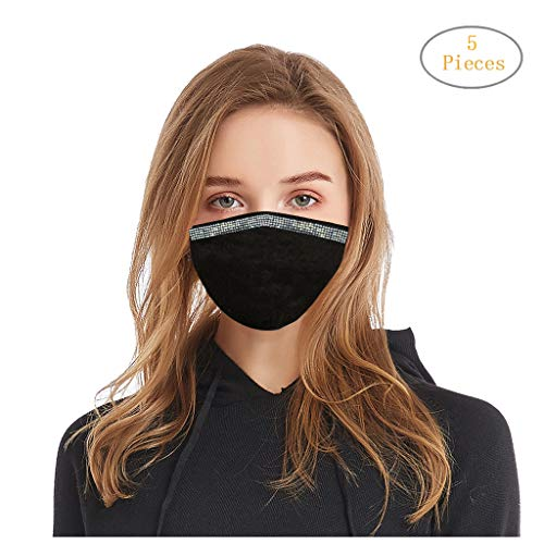 Why Choose GGGG 5pc Fashionable Reusable Face Mouth Breathing Bandanas Rhinestone Washable Dustproof