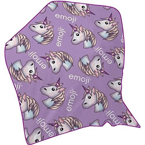 Emoji Unicornio Manta de Forro Polar, Lila
