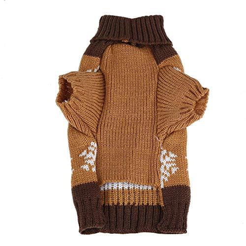 Huisdier vest, schattige kerst kleding sneeuwvlokken bedrukt gebreid vest jas voor honden katten puppy's (l bruin)