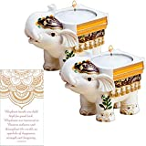 Fashioncraft Good Luck Elephant Tealight Candle Holder Set of 2, Lucky Elephant Statue Decorative Small Candle Holders