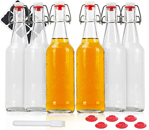 Bedoo 6 Pack 16 oz Swing Top Glass Bottles with Airtight Caps, Clear Flip Top Brewing Bottles for Juice, Kombucha, Kefir, Carbonated Drinks (Marker & Labels Included)