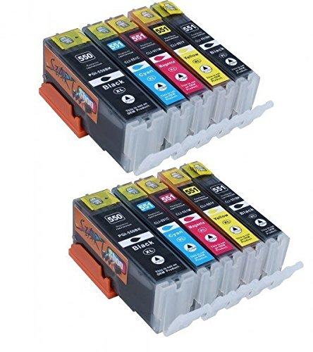 Start - 10 XL Ersatz Chip Patronen kompatibel zu Canon PGI-550BK XL Schwarz, CLI-551BK XL Foto-Schwarz, CLI-551C XL Cyan, CLI-551M XL Magenta, CLI-551Y XL Gelb