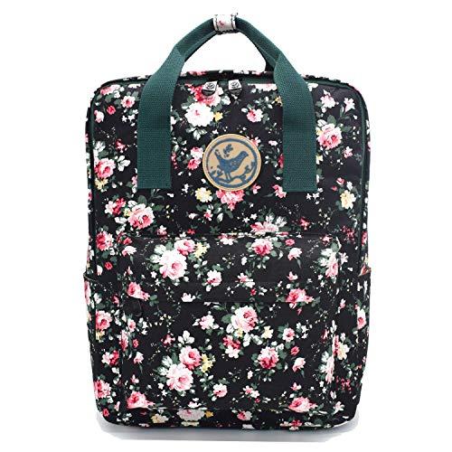 Micoop Waterproof Floral Backpack Handbag Travel School Bag for Girls and Women (Black L)