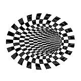 3D Area Rug Floor Mat Illusion Non Slip Area Rug, 3D Visual Vortex Optical Illusions Floor Rug,Black White Plaid Round Rugs for Lvining Bedroom Decoration Home Decor (6060cm)