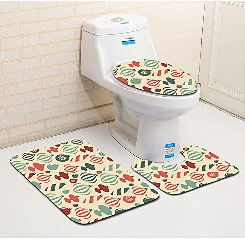 SONGHJ Christmas Series Badezimmerteppich 3D WC Bodenmatte Badezimmerteppich 3Pcs