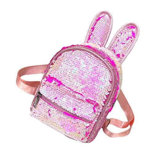 TENDYCOCO pailletten niedlichen kaninchen ohr rucksack große kapazität schule bookbag mode studenten rucksack bookbag daypack reisetasche - pink