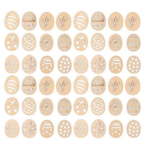 Amosfun 100 Stück Unvollendete Ostern Holzschmuck Osterei Ausschnitte Formen Ostern Baum Dekorationen Party Geschenkanhänger