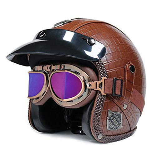 Casco Moto Jet Abierto Retro Casco De Moto,Casco Half Moto Vintage Con Gafas + Visera Solar Extraíble,ECE Certificado Casco Astronauta Para Electrico Scooter Motocross Patinete A,S=53~54CM
