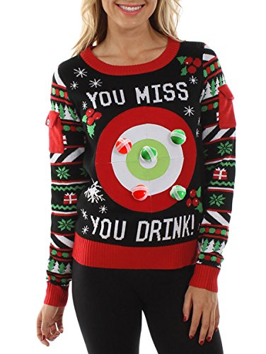 Women's Drinking Game Ugly Christmas Sweater - Funny Christmas Sweater (3XL) Black