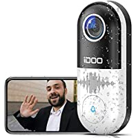 iDOO 1080p HD 128GB Home Security WiFi Video Doorbell with 2-Way Audio, Motion Detector, Night Vision (White)