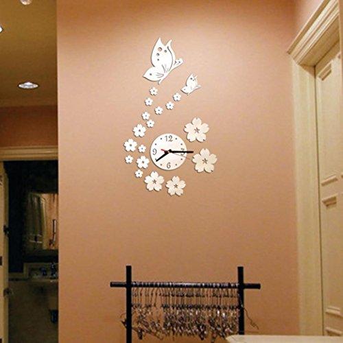 Zarupeng DIY Schmetterling Digital Wanduhr, Removable Acryl Lautlos Wanduhr 3D Spiegel Wandaufkleber Dekorative Analog Quartz Uhr (One Size, Silber)