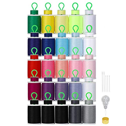 MOOACE 50pcs Sewing Thread Assortment for Hand & Machine Sewing, 21 Colors Cotton Sewing Machine Thread Spools with Prewound Bobbins