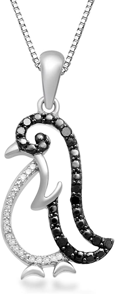 Jewelili Sterling Silver Treated Black Opening large release sale Round White D Natural and Max 87% OFF