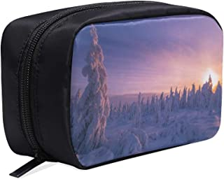 Winter Landscape With Forest Portable Travel Makeup Cosmetic Bags Organizer Multifunction Case Small Toiletry Bags For Women And Men Brushes Case