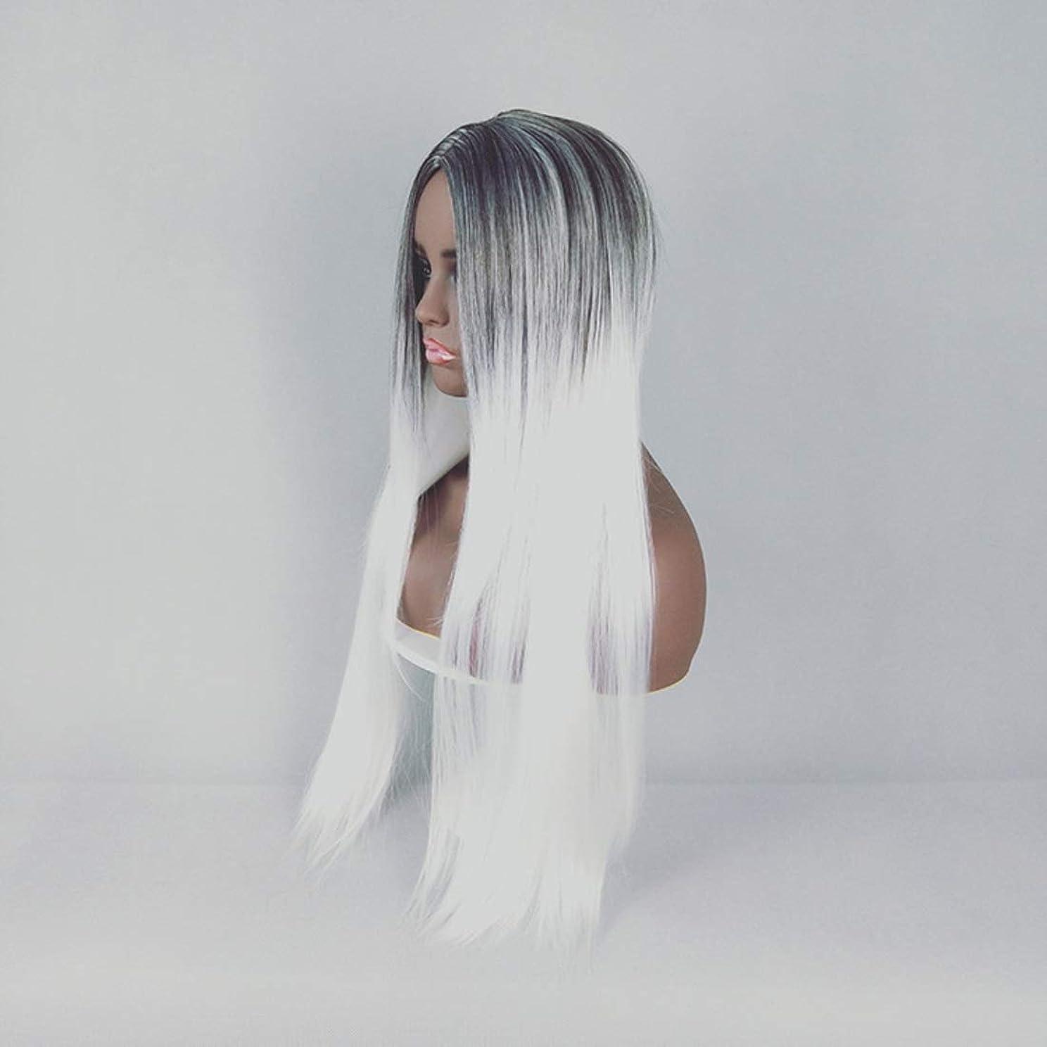 六月影響を受けやすいです対称Kerwinner 合成ストレートストレートヘアウィッグカラーグラデーションフルウィッグ女性のための前髪付き耐熱ウィッグロングウィッグコスプレ/パーティー用 (Color : White)