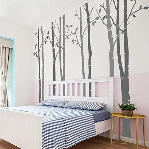 N.SunForest 7.8ft Dark Grey and Light Grey Birch Tree Vinyl Wall Decals Nursery Forest Family Tree Wall Stickers Art Decor Murals - Set of 8