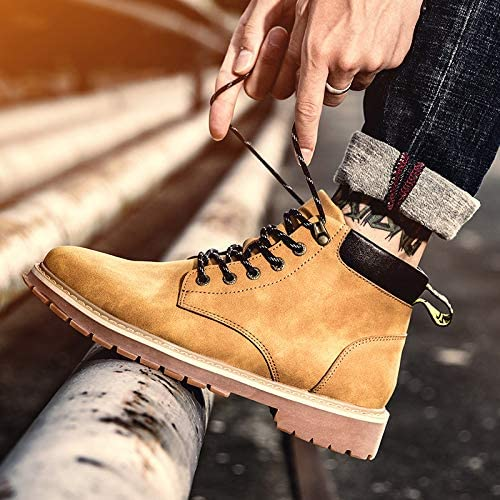 Shukun botas de hombre botas Martin para Hombre Ayuda para Hombre botas de Herramientas botas Altas para Hombre botas de Cuero Algodón Salvaje de Invierno