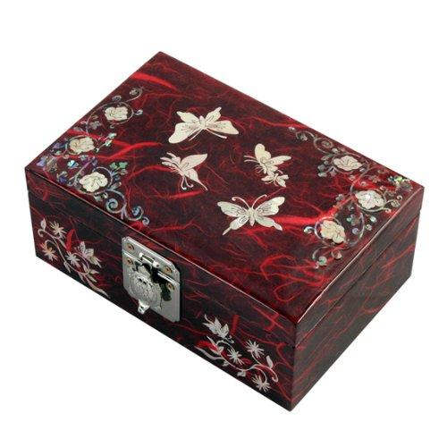 Antique Alive Joyero de Madera con Papel de Arroz Hecho a Mano Diseño de Mariposa y Arabescos Asia Oriental Decorativo Caja Lacrada