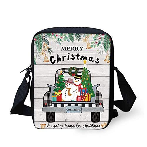 Pizding Women Men Girls Boys Handbags Truck with Snowmen Christmas Tree Print Tote Bag Durable Skin-friendly Children Kids Coin Purses Small Crossbag Daily Travel Shoulder Bag