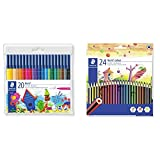 Staedtler 326 Wp20 Pack De 20 Rotuladores (Set De 20) + 185 C24 - Lápices de (24 unidades) Multicolor