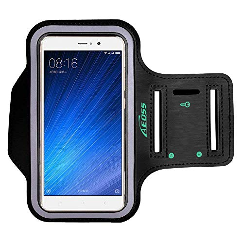 """Aeoss Universal Running Armband, Arm Cell Phone Holder Sports Armband for Running, Fitness and Gym Workouts, Compatible with iPhone 11 Pro Max and Other Smart Phones Between 6.3 to 6.5"""" inch Mobiles"""