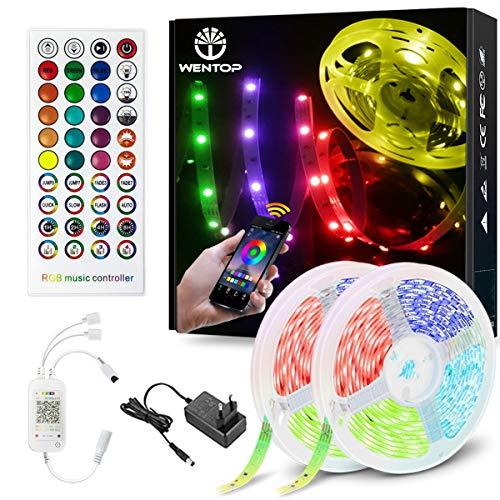 WenTop Bluetooth LED Strip 30m, Smart RGB LED Streifen, LED Band Steuerbar via App und Fernbedienung, mit Musikmodus, für Zuhause, Schlafzimmer, Küche, Party