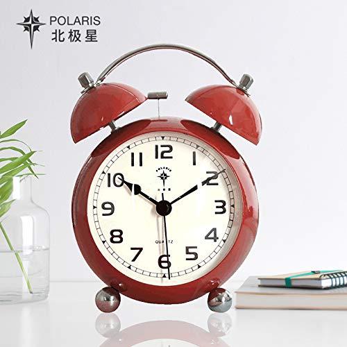 Luxuryclock wekker voor studenten, nachtkastje gemaakt van metaal, creatief, stille wekker van Moda Eenvoudig, Sn06 rood (Circa 3 Pollici), 10 cm
