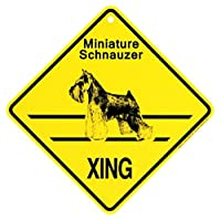 MINIATURE SCHNAUZER XING サインボード:ミニチュアシュナウザー 横断 注意 看板 [並行輸入品]