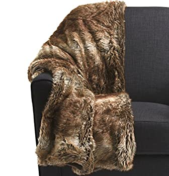 Nicole Miller Mink Faux Fur Throw Luxury Plush Blanket in Brown Taupe or Silver Gray  Brown