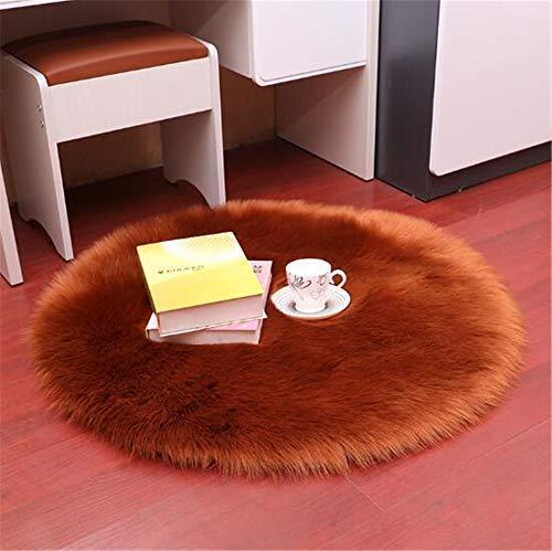 XXLYY Cojín de Silla, Alfombra de Cama Alfombra de Lana o tapete para Silla sofá (marrón Claro, 90 cm de diámetro)