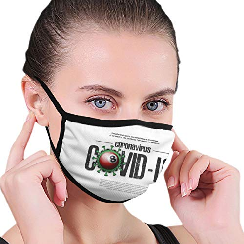Design with Illustration Covid Coronavirus with Face Protection Reusable Bandana 2 Layers Fabric Head Scarf Washable Neck Gaiter Earloop Black