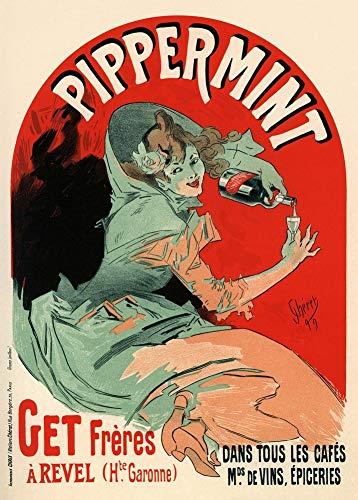 Vintage bieren, wijnen en sterke drank 'Pippermint', Frankrijk, 1899, 250gsm Zacht-Satijn Laagglans Reproductie A3 Poster