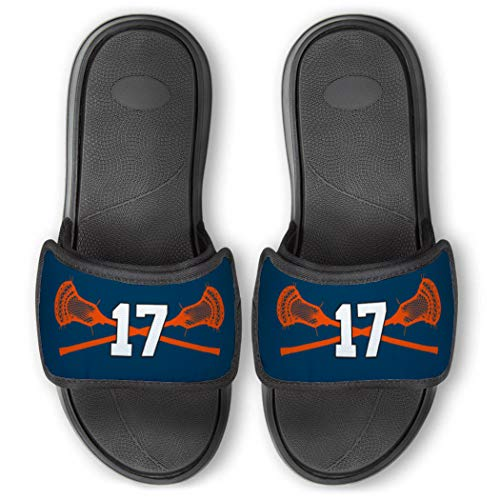 Repwell Lacrosse Slide Sandals   Your Number   Blue   Y6