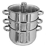 Buckingham 24 cm 6 litros de Acero Inoxidable Grandes Tres baldas de Madera de Mango y Tapa para inducción Base Olla para cocinar al Vapor, Plateado
