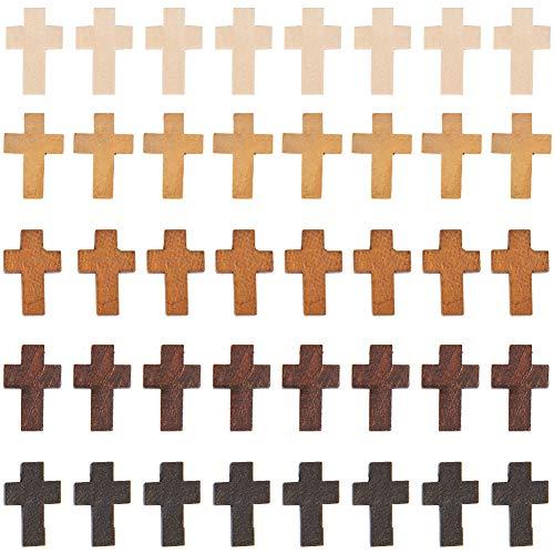 SUNNYCLUE 1 Caja 60 Piezas 5 Colores Cruz de Madera Natural con 2 mm de Agujero Cuentas Cruzadas de Madera para Manualidades DIY Pulsera Fabricación de Joyas