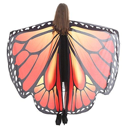 VEMOW Heißer Verkauf Damen Cosplay Party 168 * 135 CM Schmetterlingsflügel Schal Schals Damen Nymphe Pixie Poncho karneval Kostüm Zubehör(X2-Orange 2, 168 * 135CM)