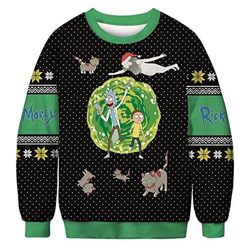 SSBZYES Suéter para Hombre Suéter De Cuello Redondo para Hombre Suéter De Cuello Redondo De Navidad Casual Divertido Estampado De Papá Noel Ropa De Pareja
