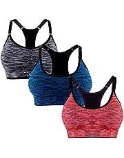 Libella 3 stuks sportbeha voor dames, comfortabele beha, ritssluiting, gevoerde push-up, ondersteuning, verstelbare bandjes, zonder beugel, yoga, fitness, 3 stuks
