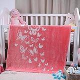i-baby Couvertures Bébé Filles Garcons Polaire Plaid Enfant Tout-petits Couvertures Flanelle Confort Gros Emmailloter Naissance Quatre Saisons (Papillon Rose, 110x140cm)